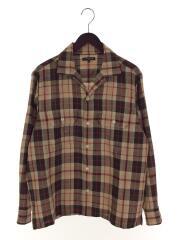 ドレスゴードンカジュアルシャツ/M/オープンカラー/リネン/BRW/チェック/型番G1M31-313-44