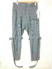 グレンチェック裾ジップボンテージスラックスパンツ/S/ウール/GRY/SI-P06-110