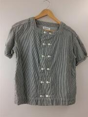 半袖シャツ/FREE/コットン/NVY/ストライプ