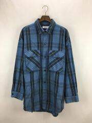 HEAVY CHECK TWILL OVER SIZED CPOジャケット/ネルシャツ/M/コットン/BLU