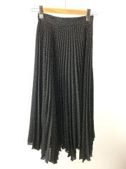 ロングスカート/O/ポリエステル/BLK/ドット/09WFS204127/脇ヘムプリーツスカート/2020年