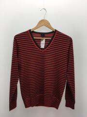 セーター(薄手)/M/ウール/RED/ボーダー/ニット