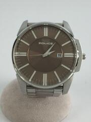 ポリス/クォーツ腕時計/アナログ/ステンレス/ブラウン/シルバー/14384J