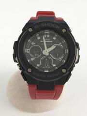 クォーツ腕時計/デジアナ/レザー/BLK/RED/G-SHOCK  G-STEEL