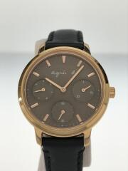 クォーツ腕時計/アナログ/レザー/BRW/BLK/VD75-KGZ0