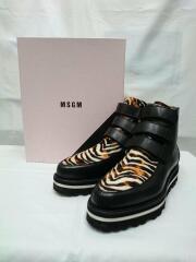 MSGM/ブーツ/レザー/サイズ38/24cm/ハラコ切替/レオパード