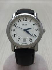 クォーツ腕時計/アナログ/レザー/WHT/BLK/W523