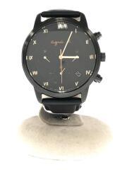 クロノグラフソーラー腕時計/VR42-KED0/アナログ/レザー/ブラック/黒/中古