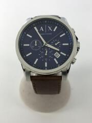 クォーツ腕時計/アナログ/レザー/NVY/BRW/ベルト部分使用感有