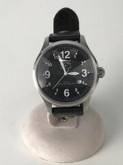 クォーツ腕時計/アナログ/レザー/WHT/BLK/5422310297/モニター電池