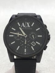 クォーツ腕時計/アナログ/レザー/BLK/BLK/AX2098/111308/5ATM/生活防水
