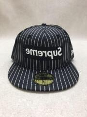 14SS/NEW ERA BOX LOGO B.B CAP/キャップ/7 1/4/コットン/BLK/ストライプ
