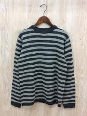 セーター(薄手)/M/ウール/GRY/ボーダー