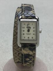 クォーツ腕時計/アナログ/レザー/BEG/BEG