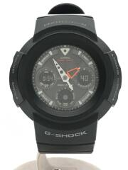 ソーラー腕時計/デジアナ/ラバー/SLV/BLK/AWG-500J