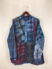 リメイクネルパッチワークシャツ/長袖シャツ/S/コットン/BLU/チェック