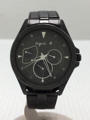 agnes b./クォーツ腕時計/アナログ/ステンレス/BLK/BLK