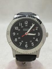 COACH/クォーツ腕時計/アナログ/レザー/BLK/BLK