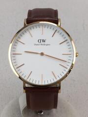 クォーツ腕時計/アナログ/レザー/0106DW/ピンクゴールド