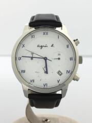 ソーラー腕時計/アナログ/レザー/ホワイト/ブラック/VR42-KDD0/マルチェロ