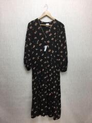 7分袖ワンピース/36/レーヨン/ブラック/フォークプリントドレス