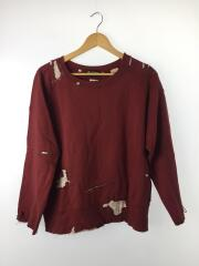 スウェット/M/コットン/BRD/INTAGE CLOTHING-STILL CREW BURGUNDY REPAIR
