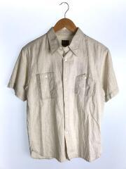 半袖シャツ/M/コットン/BEG/背面刺繍/リネン混/山ポケ