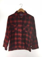 70s オープンカラーウールシャツ/M/ウール/RED