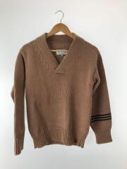 セーター(厚手)/M/コットン/BEG/無地/18ss/エルボーパッチ チャンキー