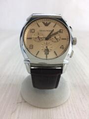 クォーツ腕時計_レザー/アナログ/GLD/BRW/AR0348/クロノグラフ/3針