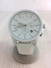 クォーツ腕時計_ラバー/アナログ/ラバー/白/ホワイト/クロノグラフ/3針/カレンダー