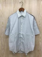 半袖シャツ/1/コットン/WHT/ストライプ/407102002