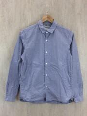 COMFORT SHIRT-STANDERD FIT LONG/スナップボタンシャツ/S/コットン/ブルー
