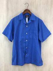 ヒルトン/開襟半袖シャツ/M/コットン/BLU/無地/バック刺繍