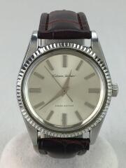 手巻腕時計/アナログ/レザー/SLV/BRW
