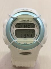 クォーツ腕時計/デジタル/ナイロン/WHT