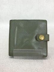 3つ折り財布/レザー/KHK