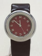 クォーツ腕時計/アナログ/レザー/RED/BRW