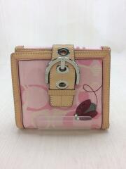 2つ折り財布/ナイロン/PNK/総柄