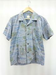 リネンアロハシャツ/オープンカラーシャツ/半袖シャツ/1/コットン/ネイビー