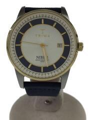 NIBEN/クォーツ腕時計/アナログ/レザー/ネイビー/NIST104
