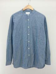ノーカラーシャツ/シャンブレーシャツ/長袖シャツ/L/コットン/ブルー