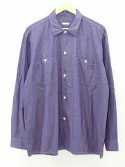 18AW/オープンカラーシャツ/長袖シャツ/4/コットン/ネイビー