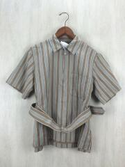 18SS/regimantal stripe oversize pullover/36/リネン/BEG/18251060