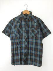 半袖ウェスタンシャツ/M/コットン/BLU/チェック/4AH-1932