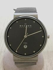 basic steel/クォーツ腕時計/アナログ/ステンレス/GRY/SLV/355LSSM