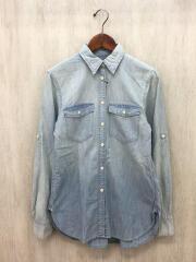 USED加工シャンブレーシャツ/XS/コットン/BLU