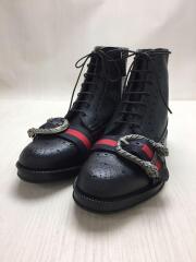 未使用/ウェブ付ブローグブーツ/UK6.5/BLK/レザー/496250