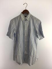 半袖ボタンダウンシャツ/38/コットン/BLU/ストライプ