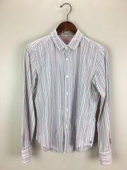 ラウンドカラーシャツ/3/コットン/BLU/ストライプ
